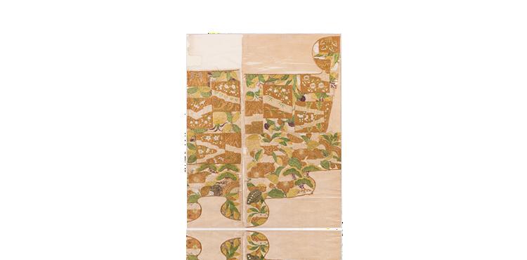 松桜に色紙形文繍箔
