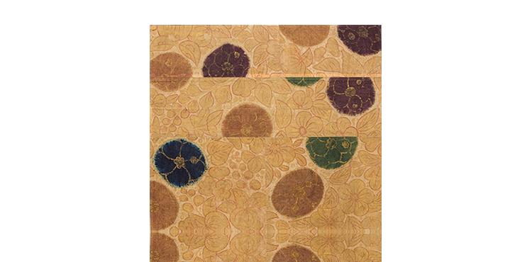 梅の絞りに草花文摺箔