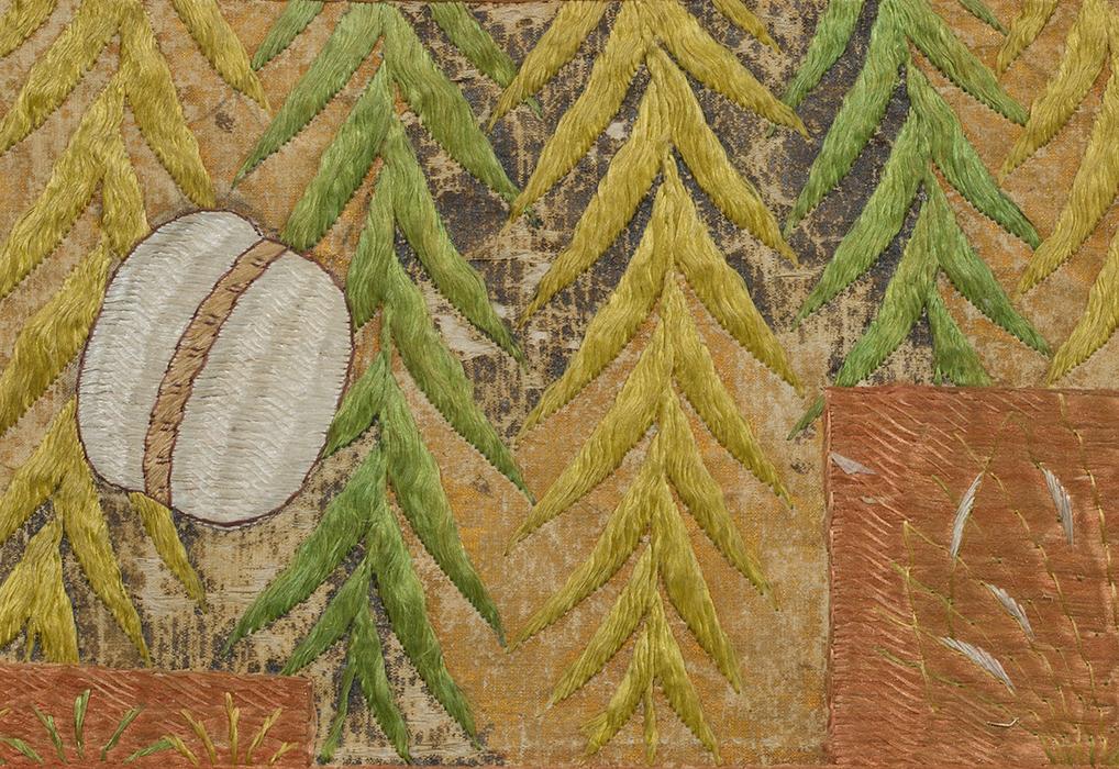 柳鞠に色紙形文繍箔
