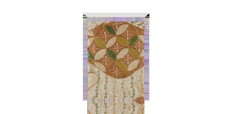 雪持ち柳に花輪違い文繍箔