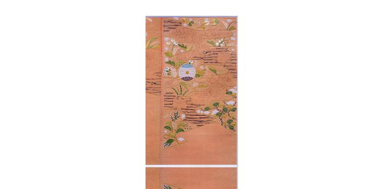 菊桐草花文繍箔