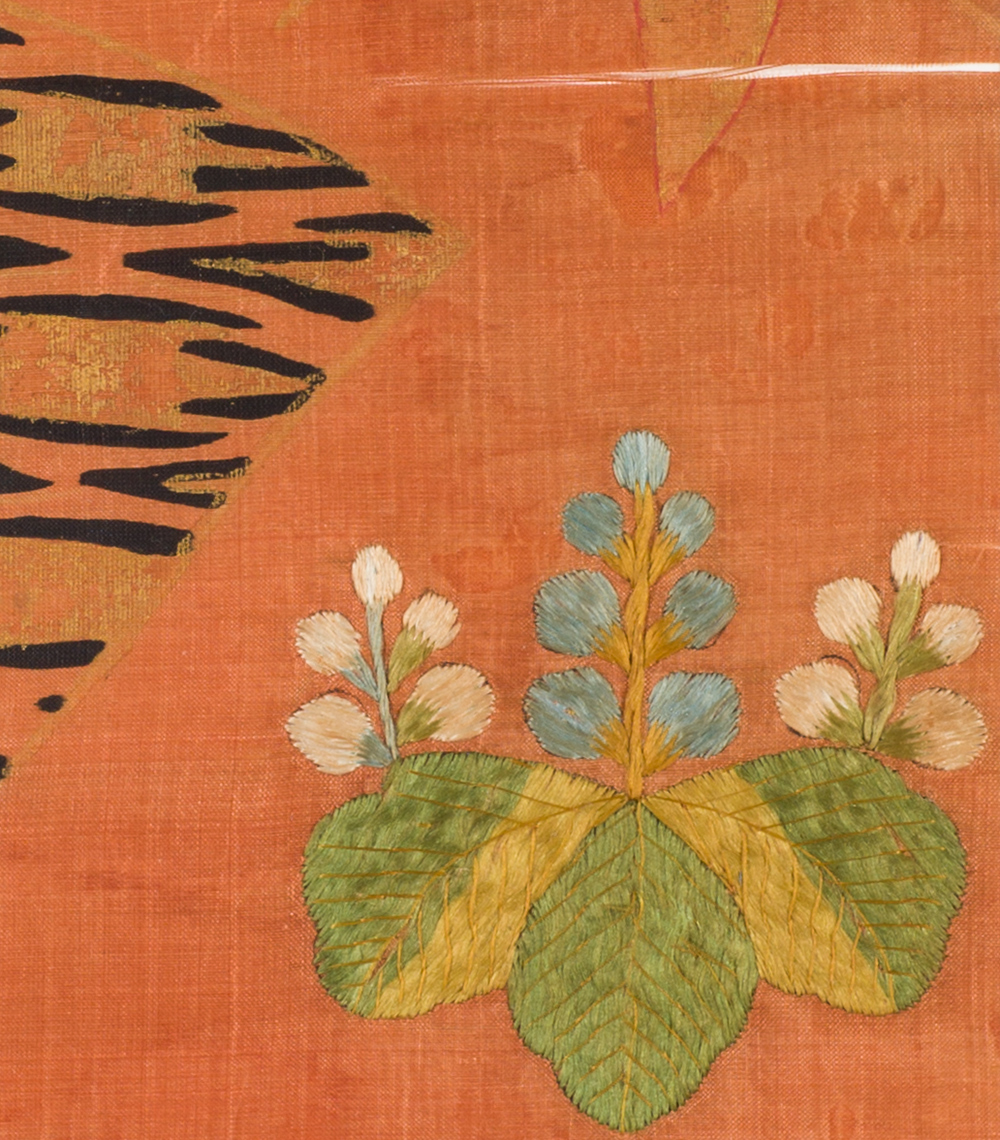 桐に扇面散らし文繍箔
