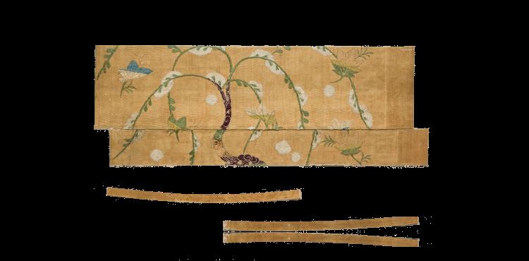 雪持ち柳に楓文刺繍