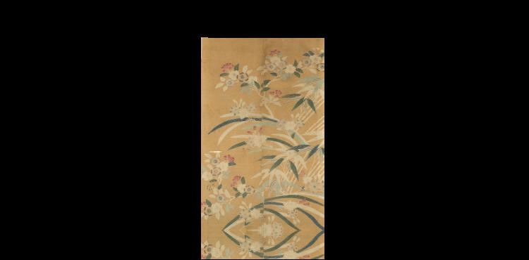 竹に桜水仙文友禅染