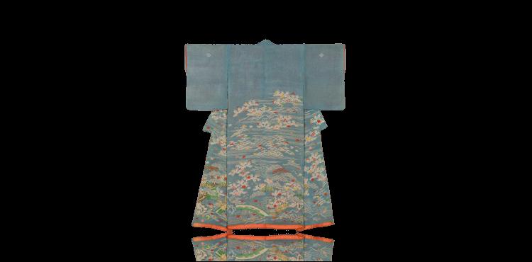 桜に轡鞭柴模様小袖
