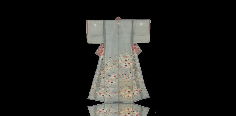 菊に秋草模様単衣