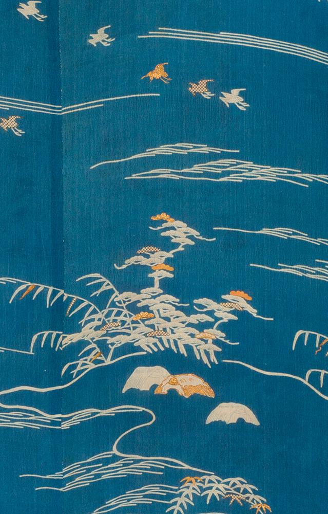 海辺に千鳥模様小袖