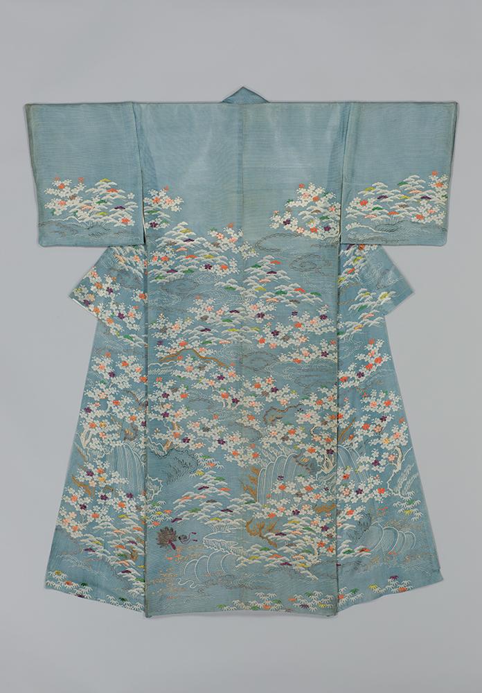 桜に羽団扇模様単衣